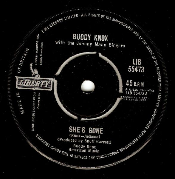 BUDDY KNOX She's Gone Vinyl Record 7 Inch Liberty 1962